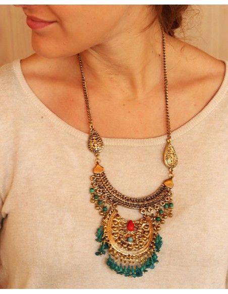 Sautoir doré ethnique à perles turquoises - Mosaik bijoux indiens