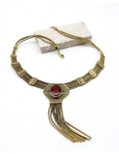 Collier ethnique doré et cornaline - Mosaik bijoux indiens