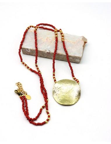 Collier sautoir à perles rouge et dorées - Mosaik bijoux indiens