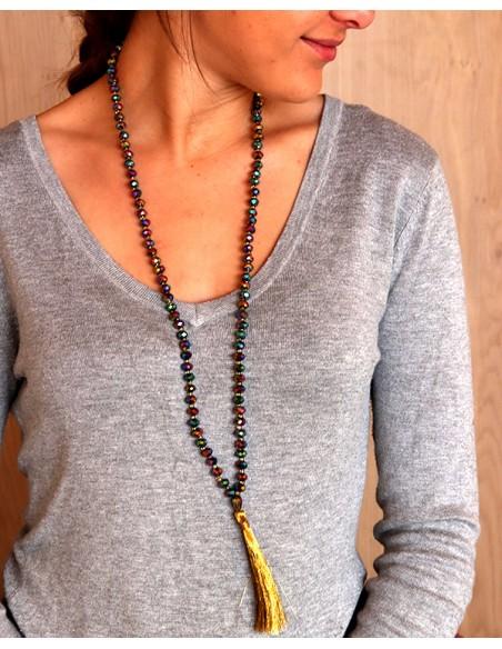 Sautoir en perles et pompons doré - Mosaik bijoux indiens
