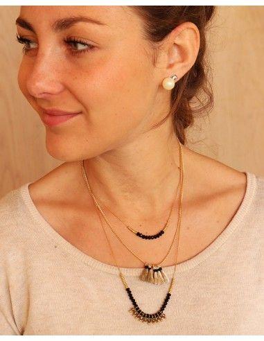 Collier doré perles et pompons noirs - Mosaik bijoux indiens
