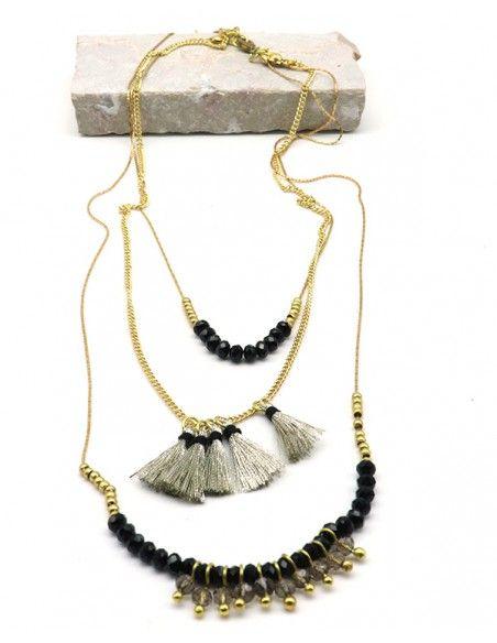 Collier noir et doré 3 rangs pompons - Mosaik bijoux indiens
