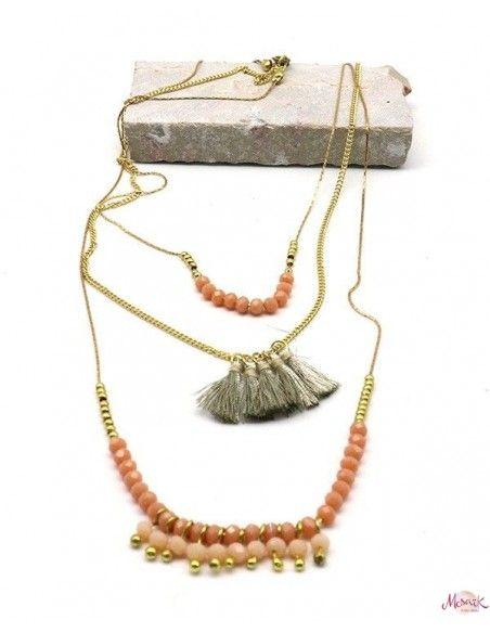 Collier 3 rangs perles et pompons roses - Mosaik bijoux indiens