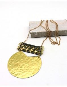 Sautoir doré et perles grises - Mosaik bijoux indiens