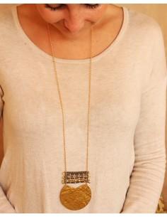 Sautoir doré et perles grises - Mosaik bijoux indiens 2