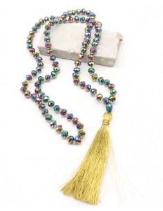 Collier sautoir en perles et pompons - Mosaik bijoux indiens