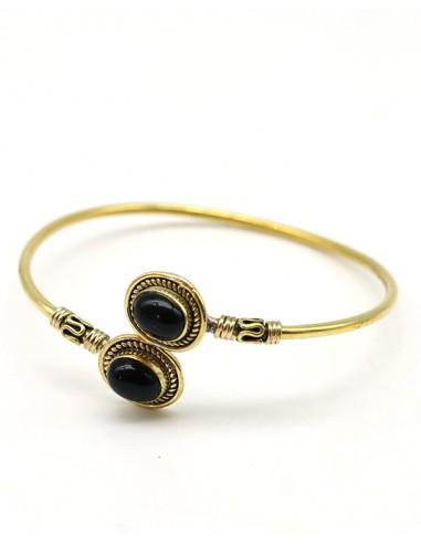 Bracelet fin doré et onyx - Mosaik bijoux indiens