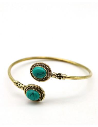 Bracelet doré et turquoises - Mosaik bijoux indiens