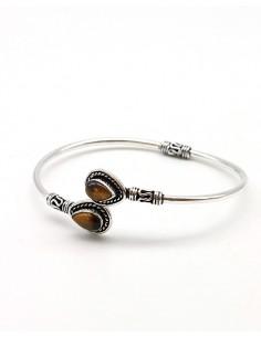 Bracelet argenté et oeil de tigre - Mosaik bijoux indiens