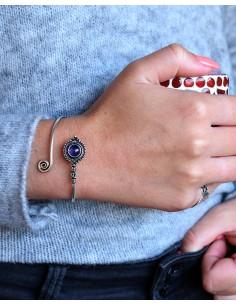 Bracelet  jonc argenté et... 2