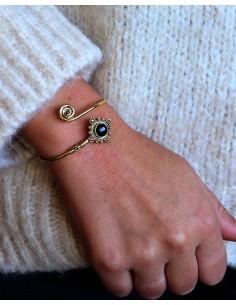 Bracelet jonc doré et onyx 2