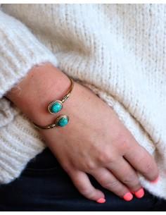 Bracelet doré et turquoises - Mosaik bijoux indiens 2