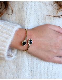 Bracelet fin doré et onyx - Mosaik bijoux indiens 2