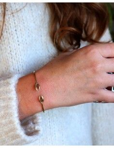 Bracelet jonc fin doré cauri 2