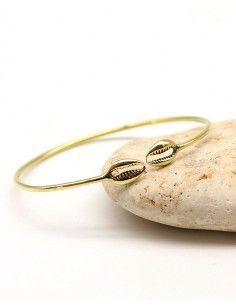 Bracelet jonc fin doré cauri