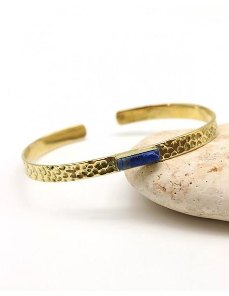 Demi jonc doré martelé et lapis lazuli - Mosaik bijoux indiens