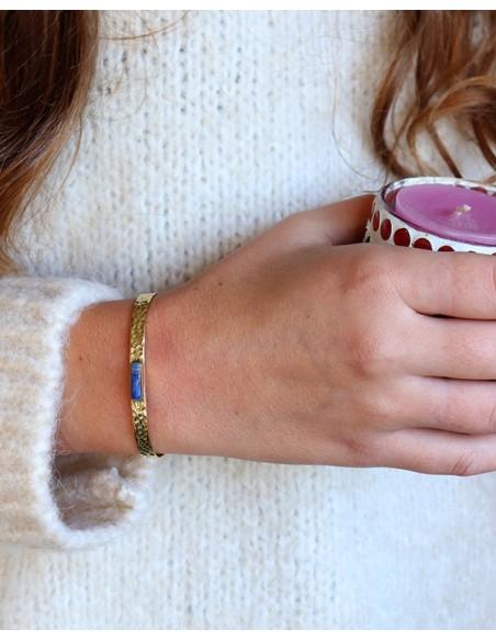 Bracelet en laiton martelé et lapis lazuli - Mosaik bijoux indiens