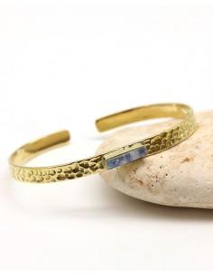 Demi jonc laiton martelé et turquoise - Mosaik bijoux indiens