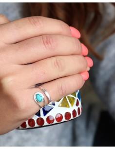 Bague argentée et turquoise - Mosaik bijoux indiens 2