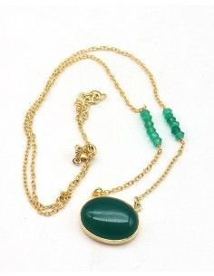 Collier agate verte en laiton - Mosaik bijoux indiens