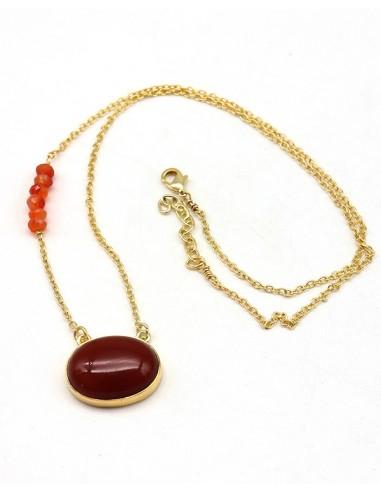 Collier cornaline doré en laiton - Mosaik bijoux indiens