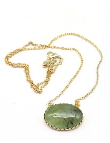 Collier préhnite en laiton - Mosaik bijoux indiens