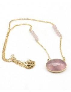 Pendentif quartz rose sur...