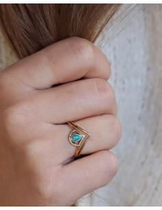 Bague laiton couronne et turquoise - Mosaik bijoux indiens 2