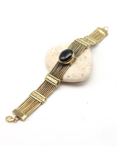 Bracelet ethnique doré et onyx - Mosaik bijoux indiens