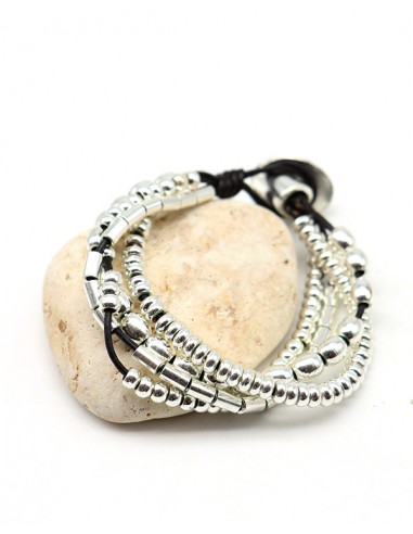 Bracelet similicuir et perles argentées - Mosaik bijoux indiens