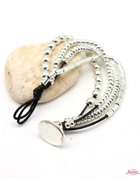 Bracelet ethnique argentées et similicuir - Mosaik bijoux indiens