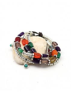 Bracelet similicuir et perles colorées - Mosaik bijoux indiens