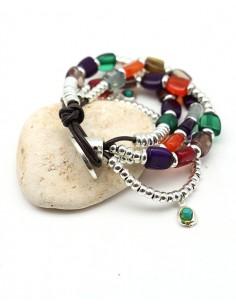 Bracelet similicuir et perles colorées - Mosaik bijoux indiens 2