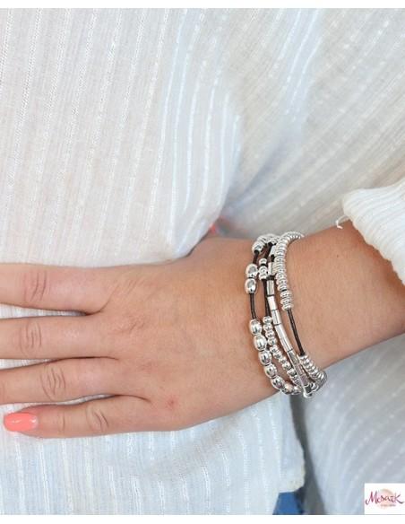 Bracelet mixte perles argentées et similicuir - Mosaik bijoux indiens