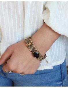 Bracelet ethnique doré et onyx - Mosaik bijoux indiens 2
