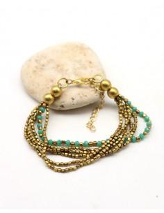 Bracelet perles turquoises et dorées - Mosaik bijoux indiens
