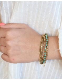 Bracelet perles turquoises et dorées - Mosaik bijoux indiens 2