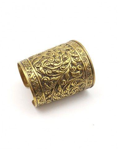 Grosse manchette dorée ethniques - Mosaik bijoux indiens
