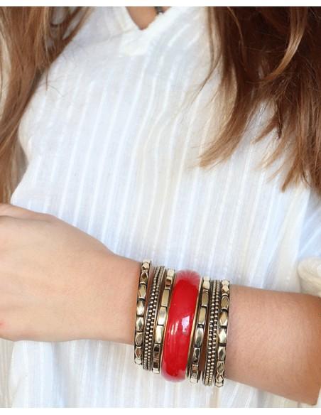 Bracelets dorés et rouges - Mosaik bijoux indiens