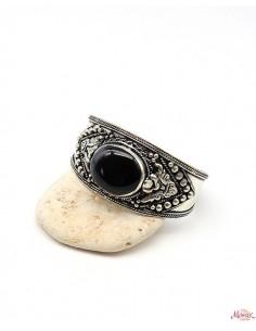 Manchette ethnique argentée et onyx noir - Mosaik bijoux indiens
