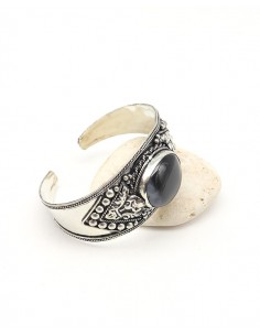 Manchette ethnique argentée et onyx noir - Mosaik bijoux indiens 2