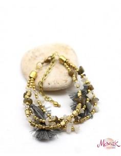 Bracelet bohème à pompons gris - Mosaik bijoux indiens