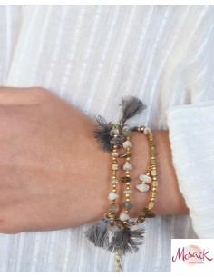 Bracelet bohème à pompons gris - Mosaik bijoux indiens 2