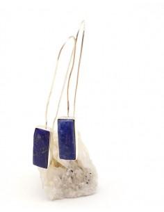 Boucles d'oreilles argentées fines et longues et lapis lazuli - Mosaik