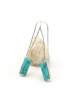 Boucles d'oreilles pendantes fines et turquoise - Mosaik bijoux indiens
