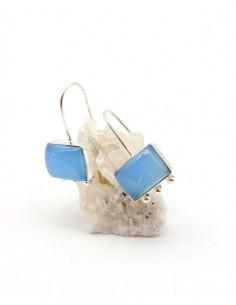 Boucles d'oreilles argentées et agates bleues - Mosaik bijoux indiens