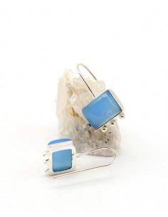 Boucles d'oreilles argentées et agates bleues - Mosaik bijoux indiens 2