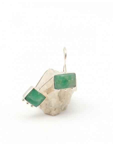 Boucles d'oreilles pendantes aventurine - Mosaik bijoux indiens