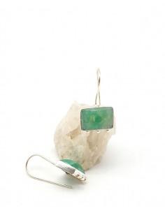 Boucles d'oreilles pendantes aventurine - Mosaik bijoux indiens 2