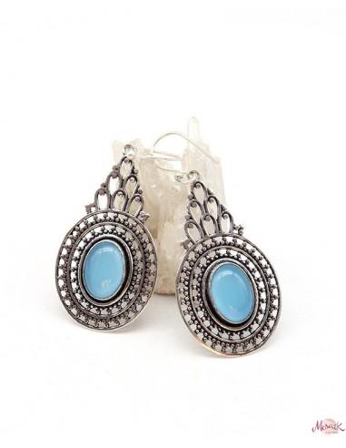 Boucles d'oreilles travaillées ethniques et agate bleue - Mosaik bijoux indiens